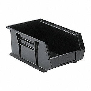 "Hang and Stack Bin, Black, 13-5/8"" Outside Length, 8-1/4"" Outside Width, 6"" Outside Height"