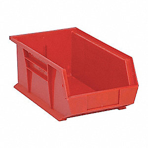 "Hang and Stack Bin, Red, 13-5/8"" Outside Length, 8-1/4"" Outside Width, 6"" Outside Height"