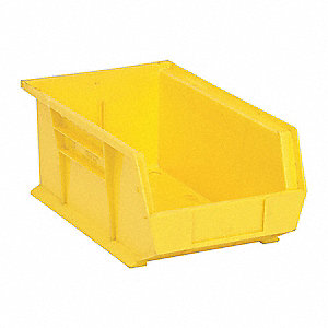 "Hang and Stack Bin, Yellow, 13-5/8"" Outside Length, 8-1/4"" Outside Width, 6"" Outside Height"
