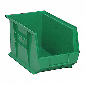 "Hang and Stack Bin, Green, 13-5/8"" Outside Length, 8-1/4"" Outside Width, 8"" Outside Height"