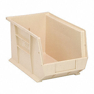 "Hang and Stack Bin, Ivory, 13-5/8"" Outside Length, 8-1/4"" Outside Width, 8"" Outside Height"
