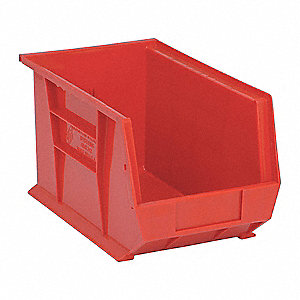 "Hang and Stack Bin, Red, 13-5/8"" Outside Length, 8-1/4"" Outside Width, 8"" Outside Height"
