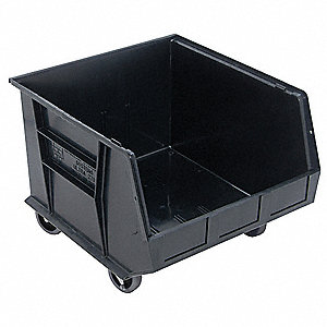 Mobile Bin,18 In. L,16-1/2 In. W,Black