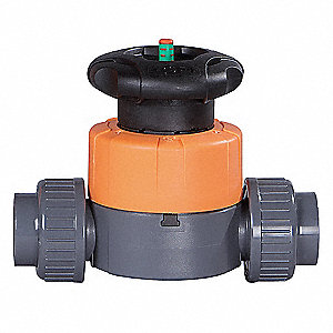 "PVC Diaphragm Valve, Socket x Socket Connection, 2-Way Valve Design, 1-1/2"" Pipe Size"