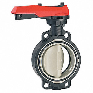 "Wafer-Style Butterfly Valve, Polypropylene, 150 psi, 6"" Pipe Size"