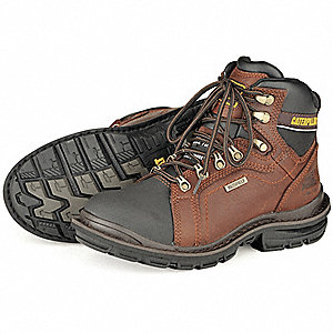 "6""H Men's Work Boots, Steel Toe Type, Leather Upper Material, Oak, Size 8-1/2M"