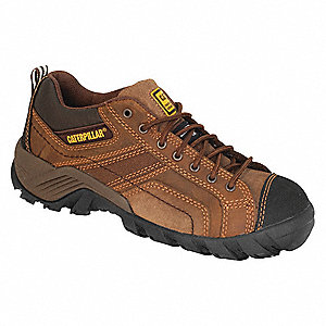 Men's Athletic Work Shoes, Composite Toe Type, Leather/Nylon Upper Material, Dark Brown, Size 12M