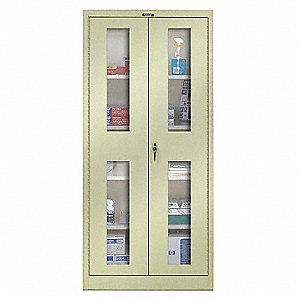 "Commercial Storage Cabinet, Tan, 78"" H X 48"" W X 24"" D, Unassembled"