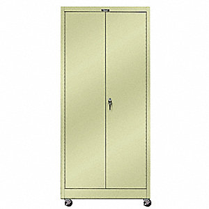 "Mobile Storage Cabinet, Parchment, 84"" Overall Height, Unassembled"