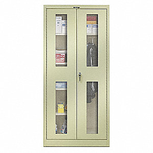 "Commercial Storage Cabinet, Tan, 78"" H X 36"" W X 18"" D, Assembled"