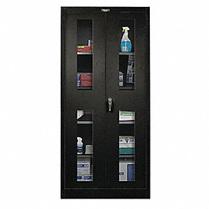 "Commercial Storage Cabinet, Black, 78"" H X 36"" W X 18"" D, Assembled"