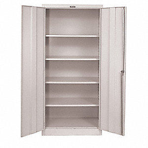 "Commercial Storage Cabinet, Light Gray, 78"" H X 48"" W X 18"" D, Assembled"