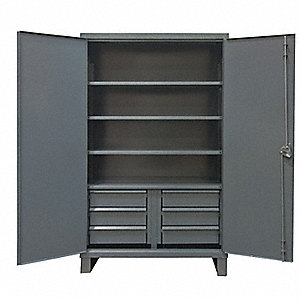 "Heavy Duty Storage Cabinet, Gray, 78"" H X 72"" W X 24"" D, Assembled"