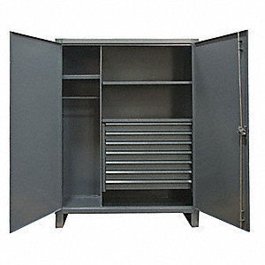 "Heavy Duty Storage Cabinet, Gray, 78"" H X 36"" W X 24"" D, Assembled"