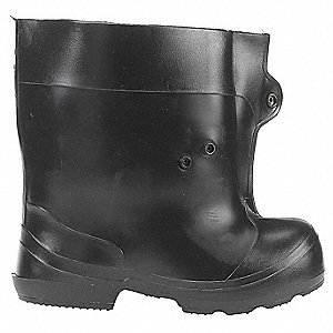 "10""H Men's Overboots, Plain Toe Type, PVC Upper Material, Black, Fits Shoe Size 4 to 5-1/2"