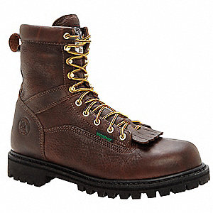 "8""H Men's Work Boots, Steel Toe Type, Leather Upper Material, Chocolate, Size 9-1/2W"