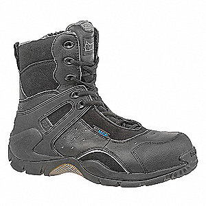 "8""H Men's Work Boots, Composite Toe Type, Leather Upper Material, Black, Size 10M"