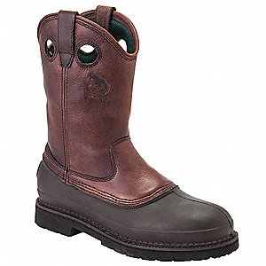 "12""H Men's Work Boots, Steel Toe Type, Leather Upper Material, Soggy Brown, Size 14W"