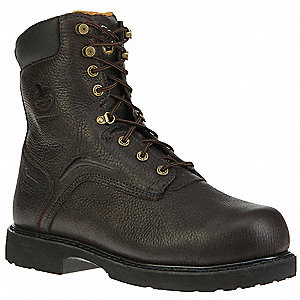 "8""H Men's Work Boots, Steel Toe Type, Leather Upper Material, Brown, Size 8W"