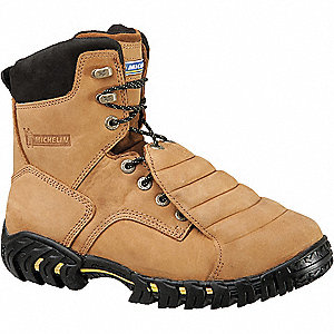 "8""H Men's Work Boots, Steel Toe Type, Leather Upper Material, Brown, Size 10-1/2M"