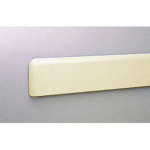 "Wall Protection Guard, Ivory, PETG/Aluminum, 144"" Length, 4"" Height, 5/64"" Thickness"