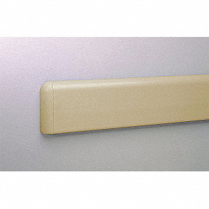 "Wall Protection Guard, Tan, PETG/Aluminum, 144"" Length, 4"" Height, 5/64"" Thickness"