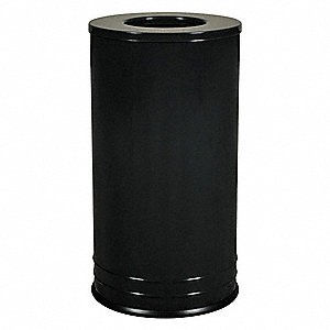 "18 gal. Round Open Top Decorative Trash Can, 28""H, Black"
