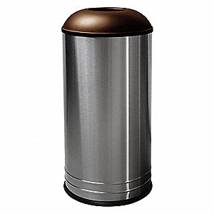 "18 gal. Round Dome Top Decorative Trash Can, 31""H, Silver"