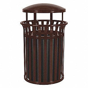 "35 gal. Round Canopy Top Decorative Trash Can, 42""H, Brown"