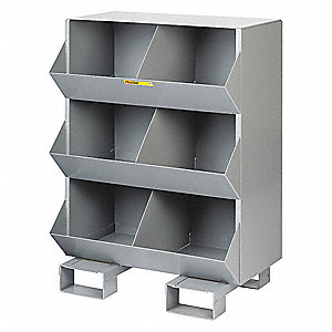 "32"" x 20"" x 42"" Stationary Storage Bins, Gray"