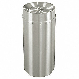 Trash Can,Round,16 gal.,Silver