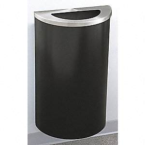 14 gal. Half-Round Black Trash Can
