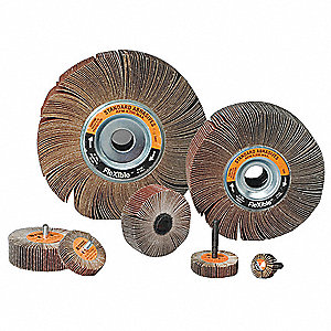 "3"" Mounted Flap Wheel With Shank, Coated, 1/2"" Width, 1/4"" Shank Size, Aluminum Oxide, 60 Grit"