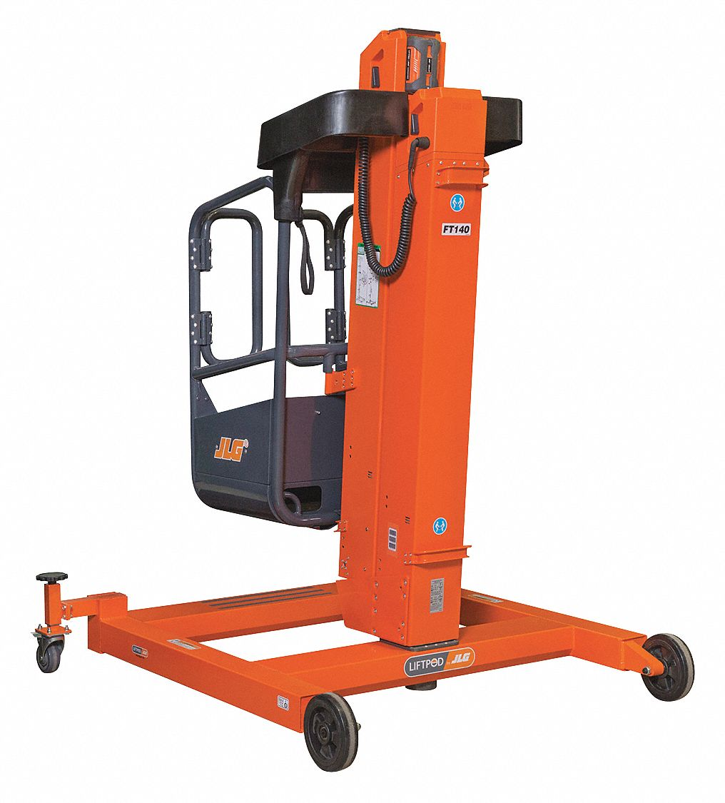Personnel Lift, Push-Around Drive, Battery Power Source, 20 ft Max. Work Height