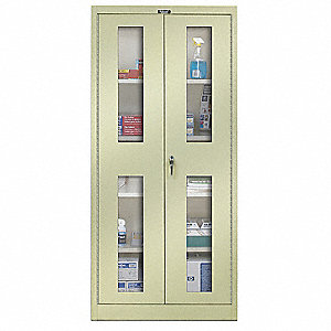 "Storage Cabinet, Parchment, 72"" Overall Height, Unassembled"
