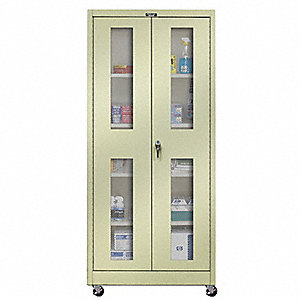 "Commercial Storage Cabinet, Tan, 72"" H X 36"" W X 24"" D, Unassembled"
