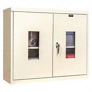 "Parchment Wall Mount Storage Cabinet, 26"" Overall Height, 30"" Overall Width, Number of Shelves 1"