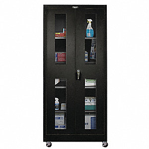 "Mobile Storage Cabinet, Black, 72"" Overall Height, Assembled"