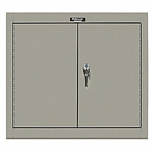 "Gray Wall Mount Storage Cabinet, 26"" Overall Height, 30"" Overall Width, Number of Shelves 1"
