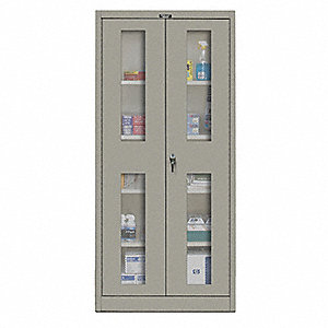 "Commercial Storage Cabinet, Gray, 72"" H X 36"" W X 18"" D, Assembled"