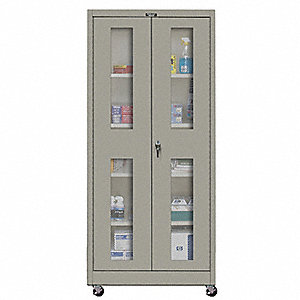 "Mobile Storage Cabinet, Gray, 78"" Overall Height, Assembled"