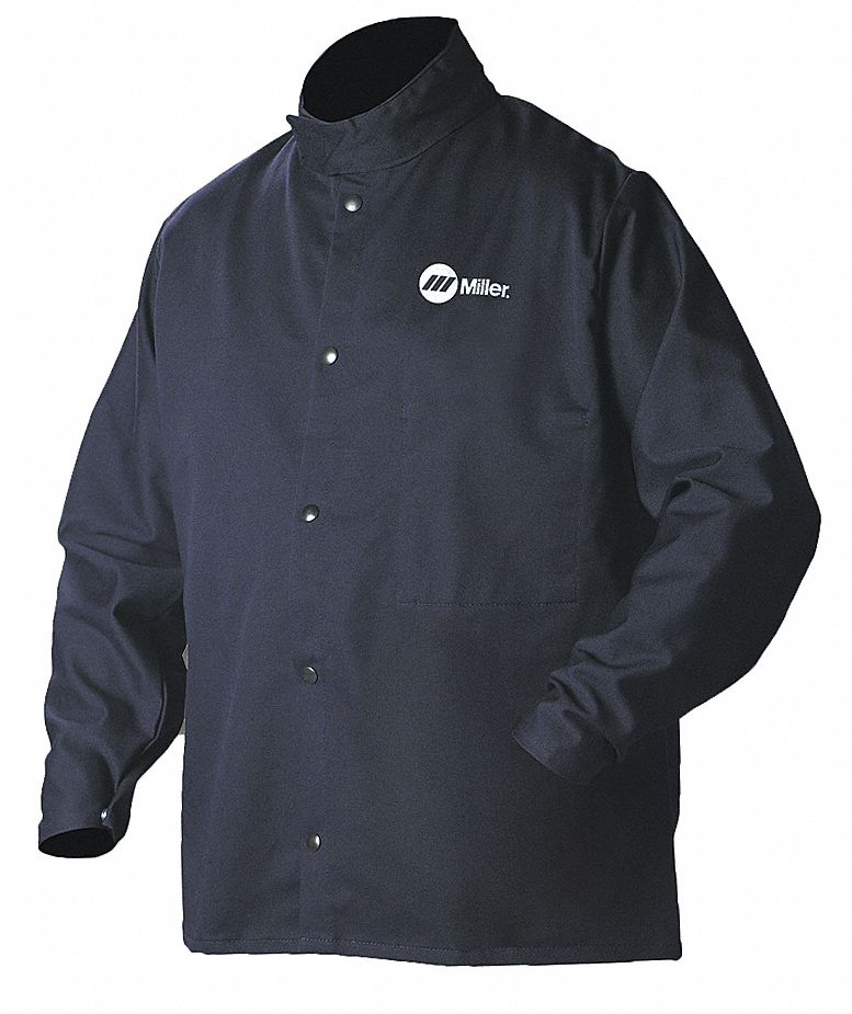 Navy 12% Nylon, 88% Cotton Welding Jacket, Size: XL, 30 in Length