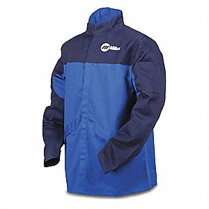 "Royal/Navy 100% Cotton INDURA Welding Jacket, Size: XL, 30"" Length"