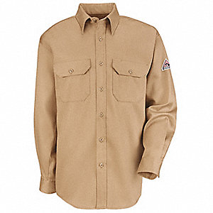"Khaki Flame-Resistant Collared Shirt, Size: LT, Fits Chest Size: 55-3/8"", 8.7 cal./cm2 ATPV Rating"