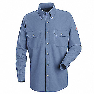 FR Long Sleeve Shirt,Button,Lt Blue,3XL