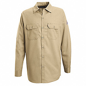"Khaki Flame-Resistant Collared Shirt, Size: XL, Fits Chest Size: 54"", 7.7 cal./cm2 ATPV Rating"