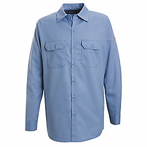 "Light Blue Flame-Resistant Collared Shirt, Size: S, Fits Chest Size: 42"", 7.7 cal./cm2 ATPV Rating"