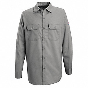 "Silver Gray Flame-Resistant Collared Shirt, Size: L, Fits Chest Size: 50"", 7.7 cal./cm2 ATPV Rating"