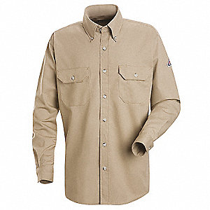 "Khaki Flame-Resistant Collared Shirt, Size: S, Fits Chest Size: 47-3/8"", 8.4 cal./cm2 ATPV Rating"
