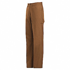 Brown Dungaree, EXCEL FR® ComforTouch® Flame-Resistant, 88% Cotton/12% Nylon, Water Repellant, Fits